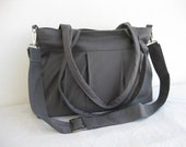 Grey Bag-Pleated Bag-Large-Double Straps and Adjustable to Straps-6 Large Pockets-Zipper Closure