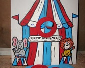Circus tent ring toss  with  6 rings and post