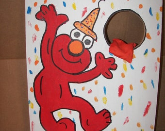 Party Elmo  bean toss with 4  bean bags