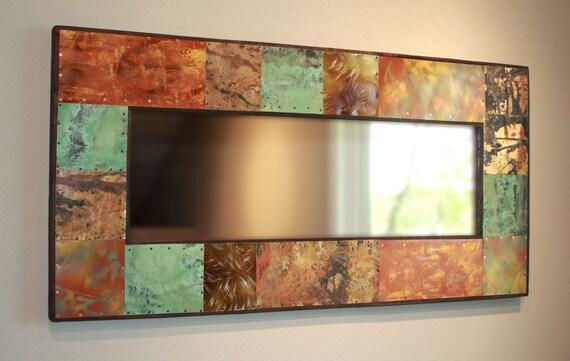 Shop Portfolio Paces 4 Light Brushed Nickel Cone Vanity: 46x22 Copperand Metal Mirror By Paulrungstudio On Etsy
