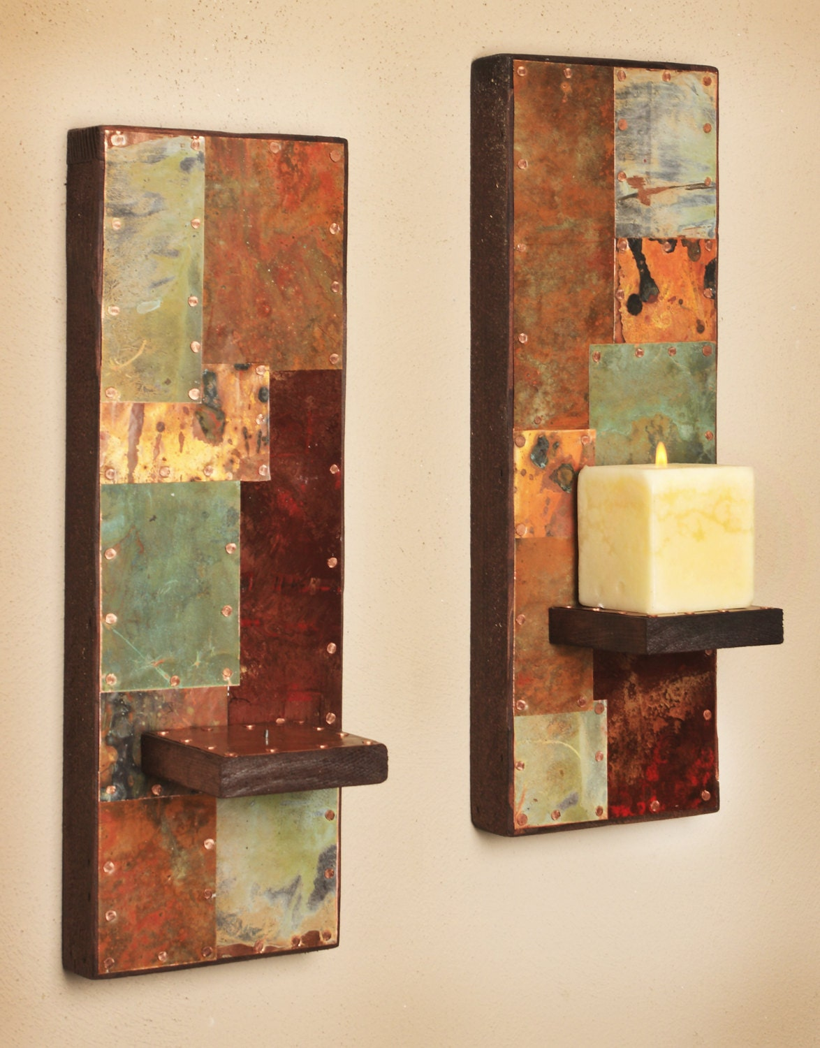 Wall Lamps Copper : Two Metal and Copper Wall Sconces