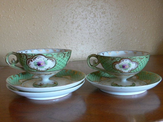 Set of Two Antique Hand Painted Teacups