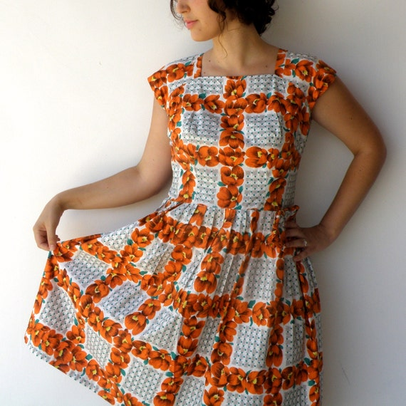 Vintage 1950s Tangerine and Forest Green Bow Juniors Dress (L)
