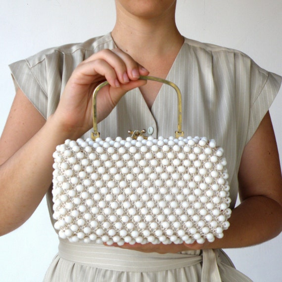Vintage late 1940s Early 1950s White Beaded Box Handbag