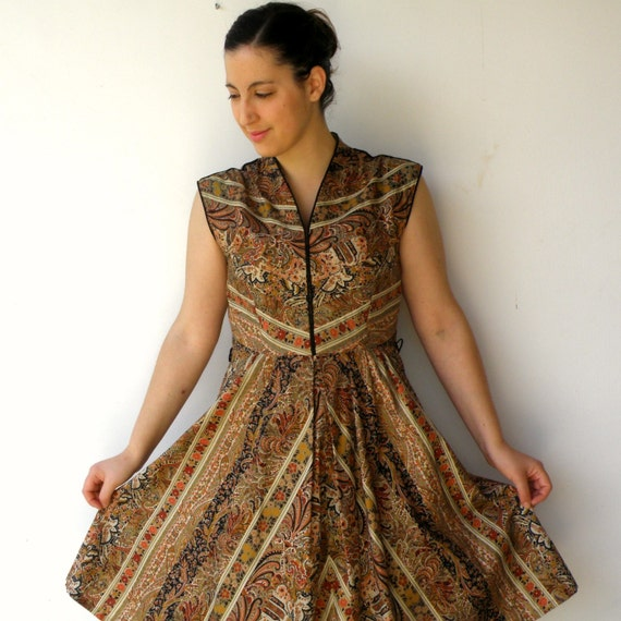 Vintage Late 1960s Fall Flowers Cotton Dress