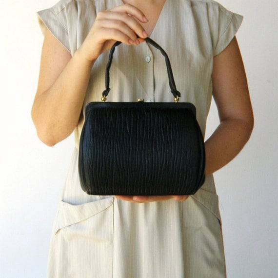 Vintage 1950s Black Soft Leather Handbag