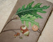 Red Oak Leaf Embroidered Book Cover