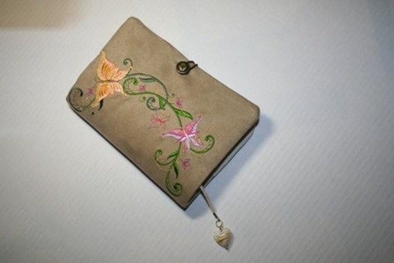 Book Cover Faux Suede and Butterfly embroidery
