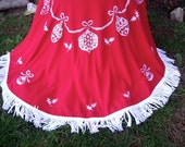 Vintage Christmas Tablecloth 50's Red Embroidered Balls White Fringe