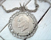 Costume Jewelry Vintage Necklace 1971 Eisenhower Dollar Rare Funky Find Estate Jewelry