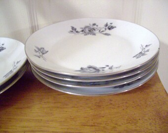 Ornate Shabby Vintage Gray Roses Cake Plates Hollywood Regency Downton Abbey Inspired