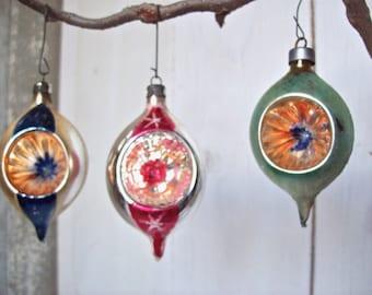Vintage Christmas Balls Glass made in Poland Tear Drop Shape