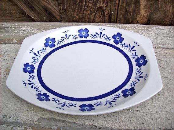 Vintage Serving Platter Country Delft made in England Danish Cobalt Blue Flowers and Stripes