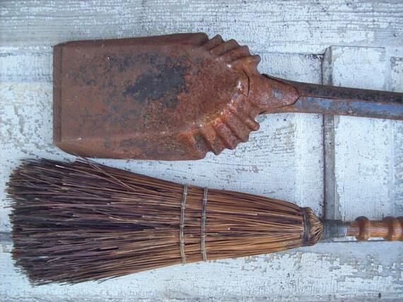 Vintage Wood Handle Fireplace Broom and Rusty Coal Shovel
