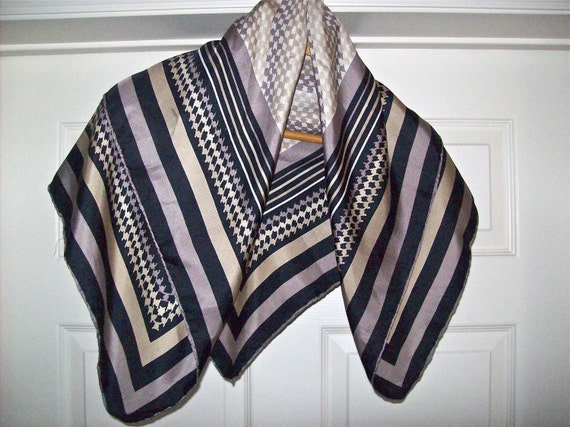 Vintage Scarf Herringbone and Stripe Earth Tones