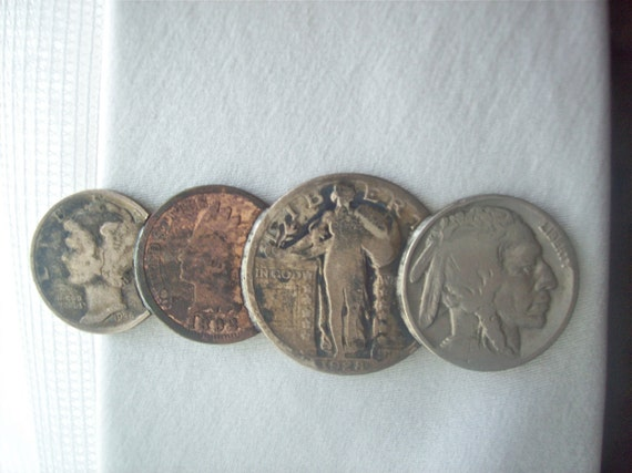 Tie Clip - Money Clip Mercury Dime Indian Head Penny Standing Liberty Quarter Indian Head Nickel