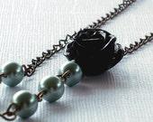 Coral Rose Necklace - Antiqued Brass