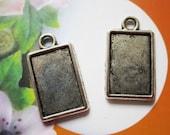 50 pcs tibetan silver lead free 24x14mm rectangle Pendant Trays Bezel Blank