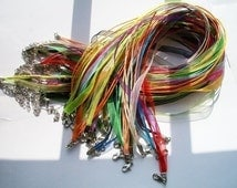 30pcs 18-20 inch adjustable assorted organza ribbon necklace cords with white k lobster clasps