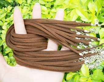15pcs 16-18 inch adjustable 2.5mm dark brown suede leather necklace cords--very small closure