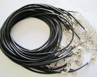 100pcs 1.5mm 16-18 inch adjustable black rubber necklace cords/lobster clasps