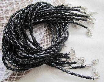 Long size 20pcs 28-30  inch adjustable 3mm black braided leather necklace cords