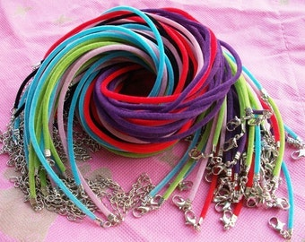 new 30pcs 14-16 inch adjustable assorted(9 colors for your choose) 2mm-2.5mm round velvet necklace cords with very small finish