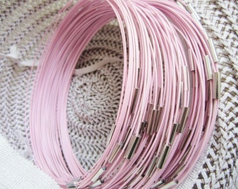 NEW NEW NEW 5pcs 18 inch 1mm light pink stainless steel necklace cords/wires with stainless steel magnet clasps