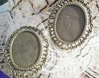 Sale 10pcs antiqued bronze oval cameo/cabochon bezel blank