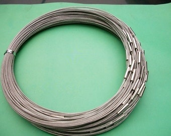NEW NEW NEW 10pcs 18 inch 1mm silver stainless steel necklace cords/wires with stainless steel magnet clasps