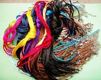 on sale 100pcs 16-18 inch adjustable 2mm assorted satin necklace cords with lobster clasps,very small ends