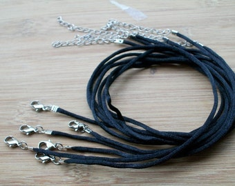on sale 100pcs 16-18 inch adjustable 2mm black satin necklace cords with lobster clasps