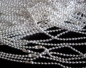 50pcs 27 inch 2mm silver plated  ball necklace chain with matching connectors