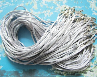 15pcs 16-18 inch adjustable 2mm gray satin necklace cords with lobster clasps