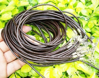 50pcs 16-18 inch adjustable 2mm brown GENUINE leather necklace cords/lobster clasps