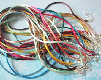 SILVER PLATED small FINISH--100pcs assorted(more than 35 colors)16-18 inch adjustable 2mm satin rat tail necklace cords