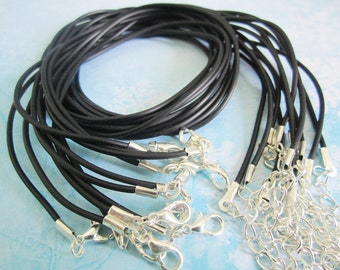 high quality15pcs 16-18 inch adjustable 1.5mm black rubber necklace cords with very small SILVER PLATED lobster clasps