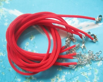 new 15pcs 16-18 inch adjustable 2mm red velvet necklace cords---small crimp finish