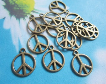 30pcs  14mm antiqued bronze peace sign charms pendant findings