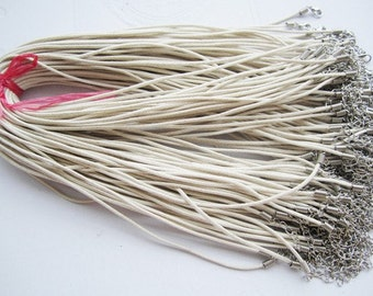 15pcs 1.5mm 18-20 inch adjustable cream waxed cotton necklace cords with lobster clasp plus extension chain