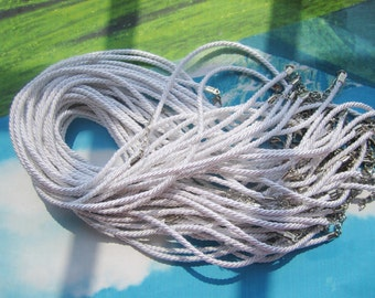 New come-- 10pcs 16-18 inch 3mm white braided silk necklace cords with very strong finish