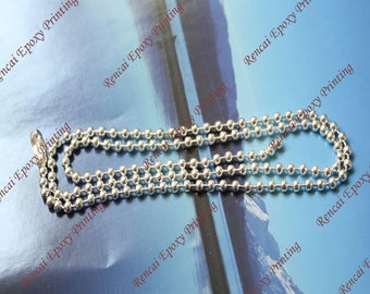 wholesale 100pcs 20 inch 2.4mm white K(matt) ball necklace chains with matching connectors