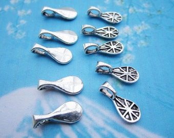 50 pieces new design lead free antiqued silver oval shape glue on glass tiles small 17x7mm bails