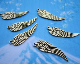 20pcs 30x9mm antiqued gold wing charms--medium size