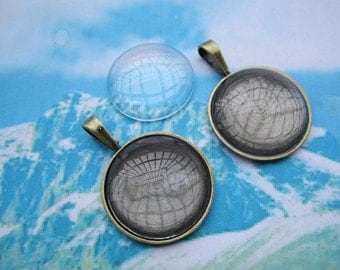 5pcs 27mm bronze plated round cameo/cabochon base setting plus 5pcs matching clear crystal glass cabochon pendant