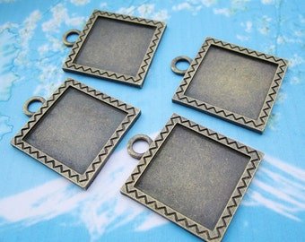 heavy style-NEW COME 5 pcs 32mm antiqued bronze Square cameo/cabochon base setting pendant