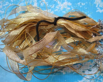New Style-15 pcs 18-20 inch adjustable gold shiny ribbon necklace cords with lobster clasps