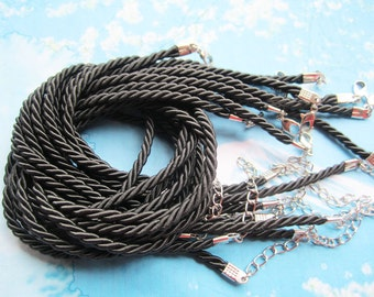 New come-- 10pcs 16-18 inch 3mm black braided silk necklace cords with very strong finish