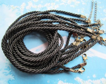 10pcs 16-18 inch 3mm black braided silk necklace cords with very strong BRONZE  finish