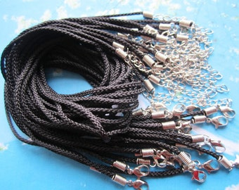 30pcs 16-18 inch adjustable 2mm black twist satin necklace cords with lobster clasps